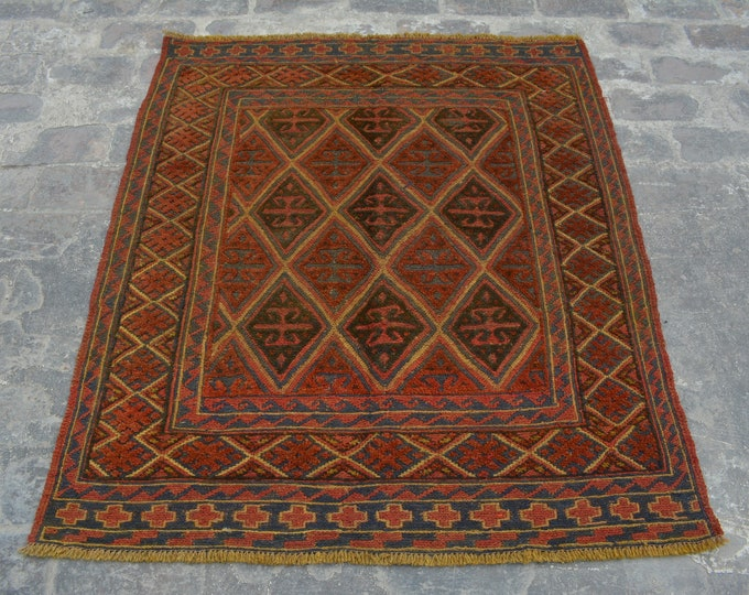 Vintage Elegant Afghan tribal mushwani kilim rug / mixture of kilim and rug - Decorative tribal nomadic kilim rug / bohemian decor rug