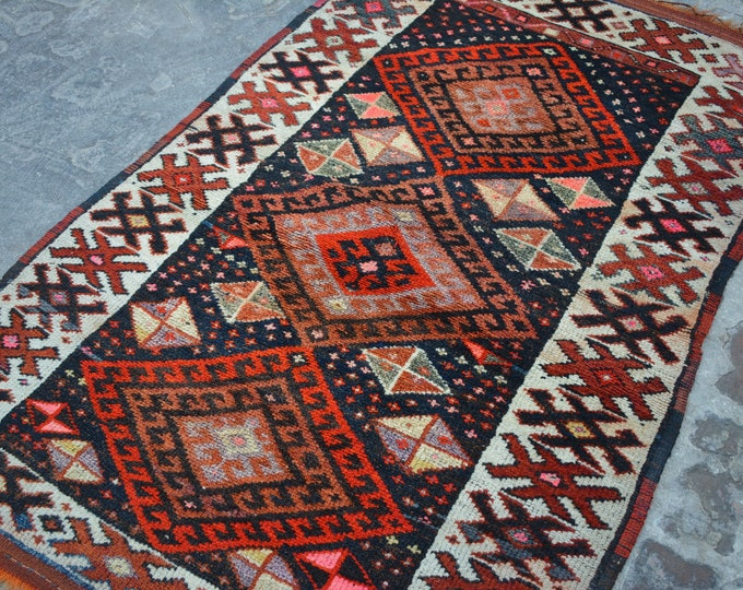 Vintage Stunning hand knotted caucasian tribal wool rug / Decorative rug vintage Caucasian traditional rug