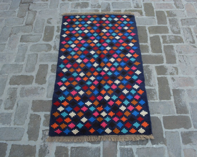 89 x 145 cm. Afghan Gabbeh hand knotted rug, 100% wool, Free Shipping, Modern rug