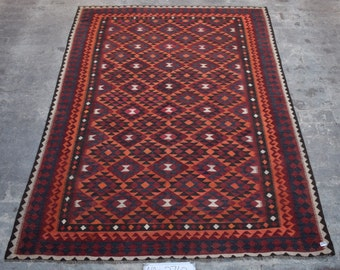 Elegant Afghan Kilim, Turkish kilim, area rug , Large kilim Rug , Tribal Kilim rug, 6'2 x 8'9 Ft
