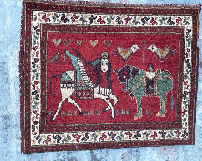 2'0 x 2'4 ft. Afghan Baluch Balisht Bag, Nomadic Wall Hanging, Tribal Style Tapestry