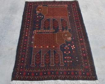 Lion Pictorial Decorative rug vintage afghan traditional rug/ Vintage Afghan baluchi tribal handmade wool rug