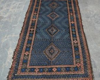 Imperfection hand knotted elegant Afghan vintage rug 100% wool