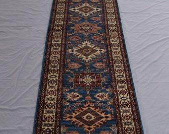10 Ft Fine Kazak Runner - Afghan Hand knotted runner rug - Hallway runner - Entryway runner - 2'7 x 10'0 ft - Free Shipping