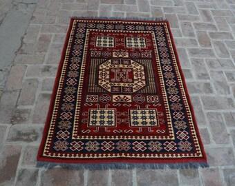 3'4 x 4'9 afghan handmade kazak rug - wool rug - kitchen rug - door mat rug - free shipping