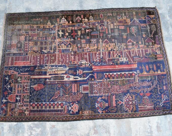 3'1 x 4'5 ft. Vintage handmade Afghan baluch tribal rug