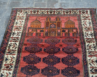 Antique Caucasian style tribal handmade wool prayer rug / Decorative rug vintage afghan traditional rug