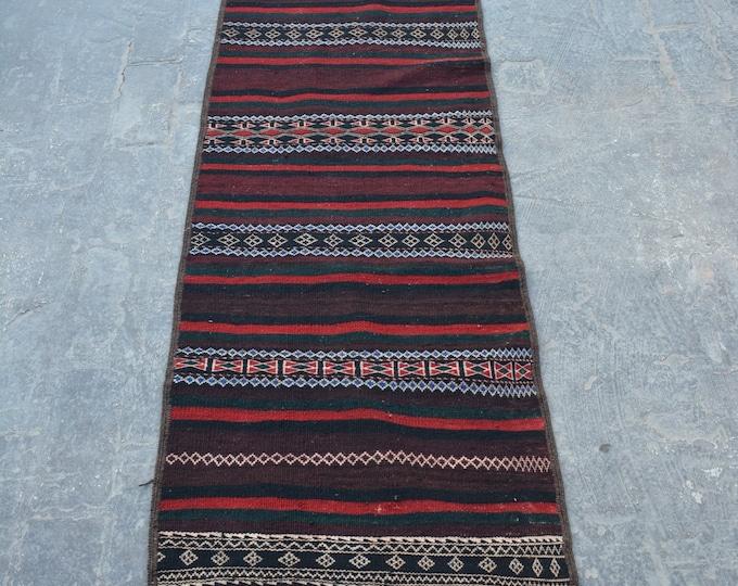 Nomadic Stunning handwoven Afghan tribal baluchi Maldari kilim runner / Nomadic kilim decorative Afghan kilim tribal kilim runner