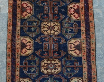 Vintage Caucasian hand knotted rare rug