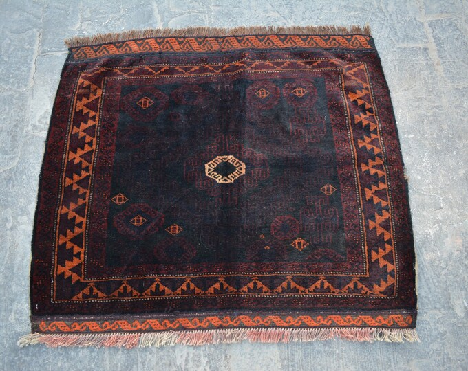 Afghan vintage Handwoven sqaure nomadic rug / Tribal maldari Decorative cute small rug/ Gift item for her/him