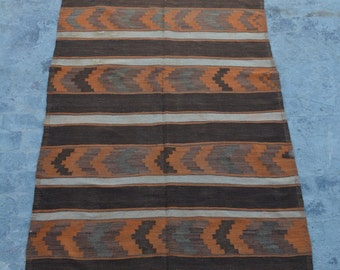 FREE SHIPPING 5'1 x 10'4 ft Vintage Afghan Nomad's tribal kilim /this handwoven kilim will make your Space even more stunning and beautiful