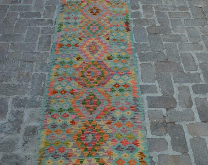 Colorful Handmade Afghan kilim Rug Runner/ Free Shipping - 80 x 390 cm