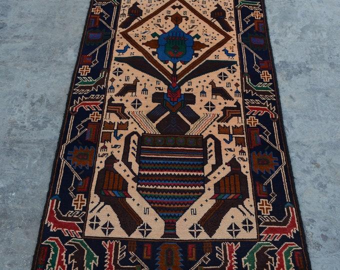 Elegant Handmade Afghan vintage Woolen area rug / 100% wool tribal hand knotted rug / Afghan baluchi pictorial rug