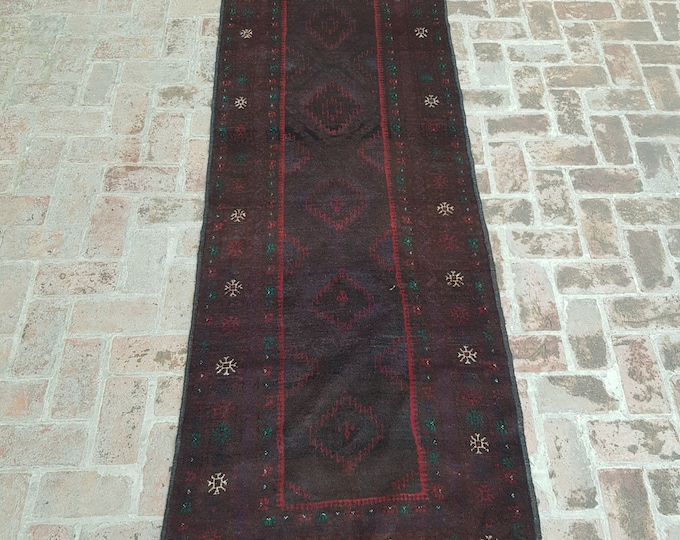 93x316 Afghan Tribal baluch runner rug - hand knotted rug runner - hallway runner rug - tribal wool runner rug - free shipping