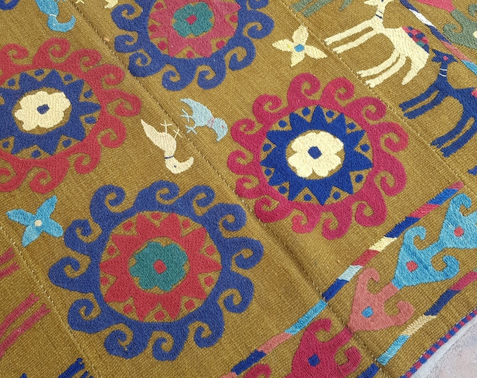 143x151 Gold Uzbek suzani kilim rug - Tribal Embroidery kilim - living room kilim - turkish kilim - wool rug - traditional kilim