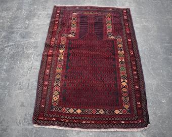 2'11 x 4'6 vintage Afghan Kawdani prayer rug - baluch rug - tribal afghan turkmen rug - oriental baluch rug - free shipping