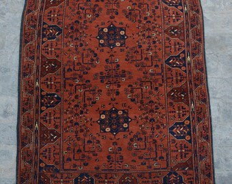 FREE SHIPPING 3.4 x 5.0 ft Afghan Vintage Tribal turkman rug /Home decor Rug this rug will make your house even more Beautiful and colorful