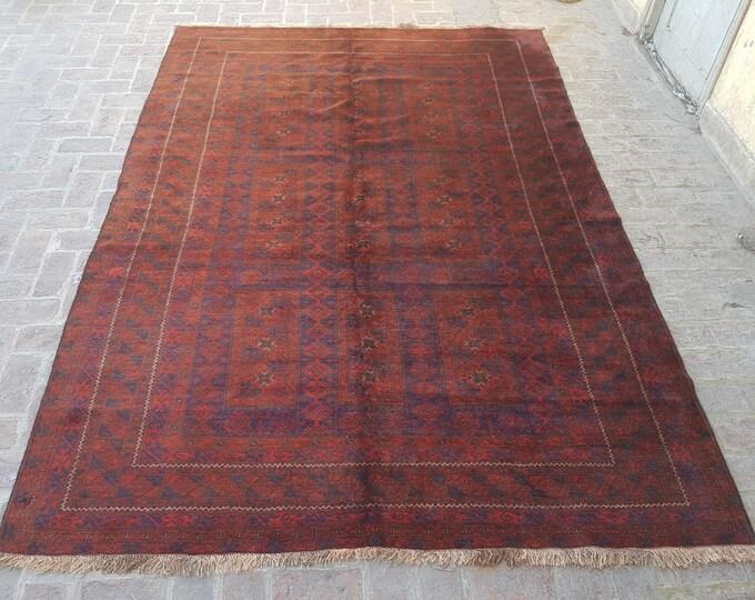 224x330 - Afghan hand knotted vintage Yaqoobkhani rug - afghan tribal area rug - living room rug - dining room rug - bedroom rug