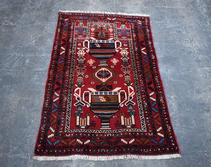 3'0 x 4'6 Afghan rug - 3x5 rug - hand knotted wool rug - kitchen rug - area rug - tribal rug - turkish small rug - free shipping