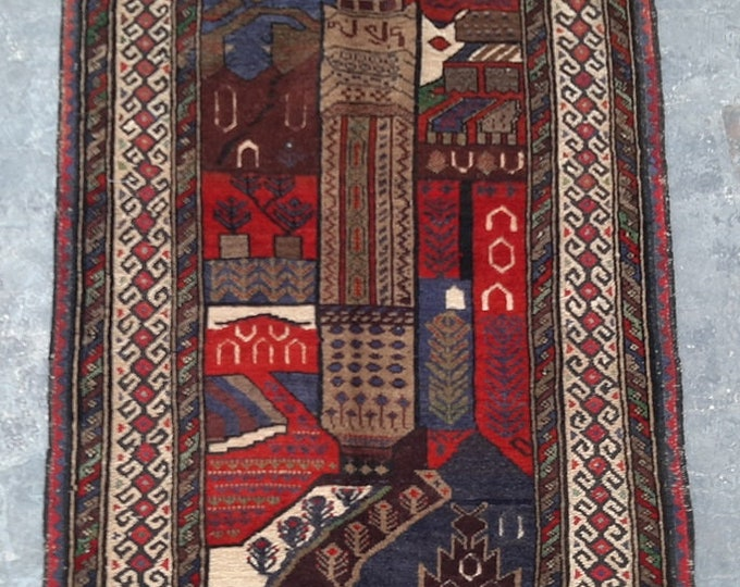 2'8 x 4'5 ft. Vintage  Afghan tribal hand knotted rug, Traditional Baluchi rug, Free Shipping