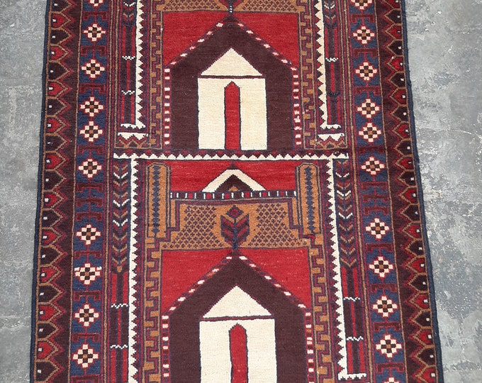 vintage Kawdani Afghan Nomadic tribal handmade wool prayer rug / Decorative rug vintage afghan traditional kawdani prayer rug/ Jai namaz rug