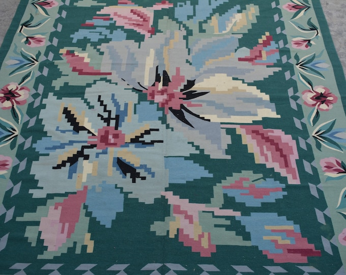 Large Vintage Stunning handwoven tribal Afghan flower pattern kilim rug / decorative kilim rug