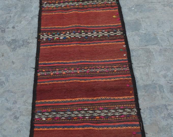 Vintage handmade Nomad kilim runner 100% wool tassel kilim