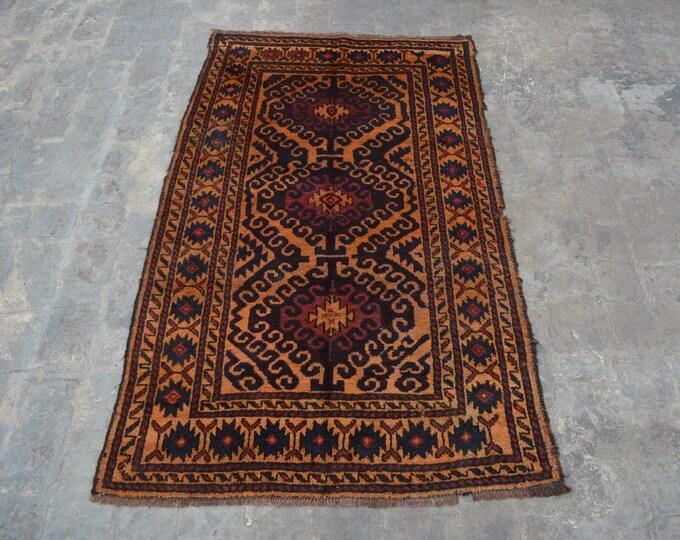 Hand knotted elegant Afghan vintage rug 100% wool