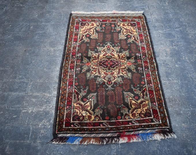 3'0 x 4'11 Afghan rug - 3x5 rug - hand knotted wool rug - kitchen rug - area rug - tribal rug - turkish small rug - free shipping