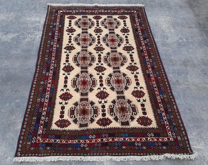 "4'3 x 6'7"" ft. Handmade Afghan tribal Rug, Free Shipping"