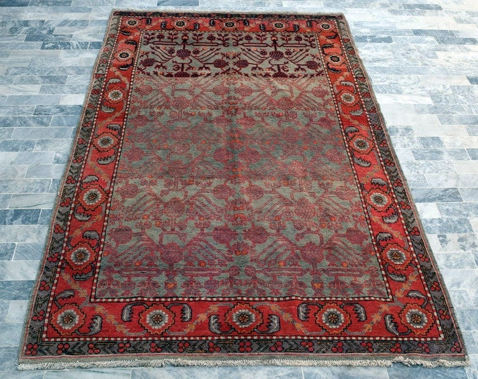 """Antique 5'6"""" x 9'4"""" Distressed Khotan Rug Pomegranate Hand Knotted Wool Rug Art Deco 1930s - FREE SHIPPING"""