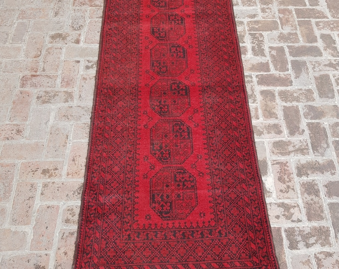 102x268 vintage Afghan hand knotted filpai rug runner - tribal wool red runner rug - Free Shipping
