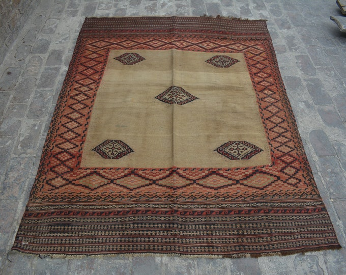 Vintage Spectacular handwoven tribal Turkish sumak  nomadic kilim / Traditional kuchi kilim/ decorative Turkish Gypsy kilim