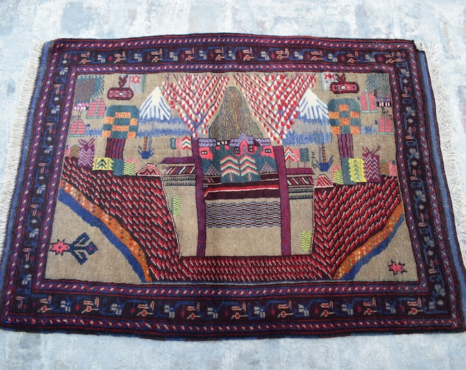 Free Shipping /Afghan hand knotted tribal Rug/ 3'6 x 4'9 ft.
