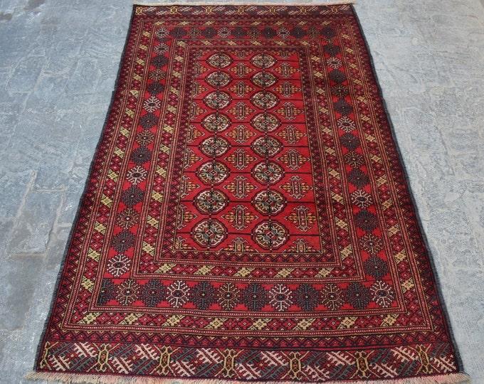 Vintage Afghan turkoman tribal chobbash handmade wool rug / Decorative rug vintage afghan traditional rug