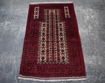 2'10 x 4 Afghan Kawdani prayer rug - baluch rug - tribal afghan turkmen rug - oriental baluch rug - free shipping