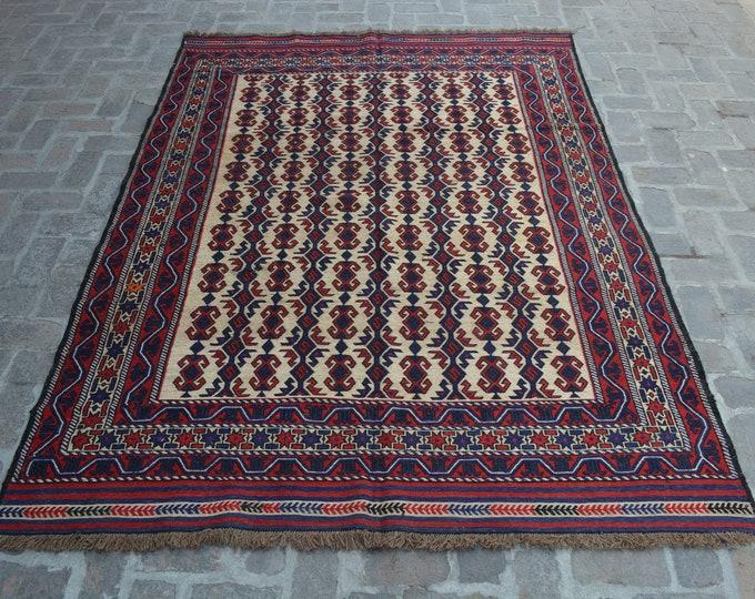 Beautiful Handwoven Afghan Sumak Kilim Rug/ Free Shipping/ 192 x 272 cm