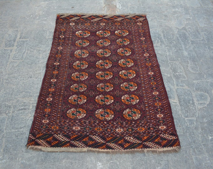Semi antique turkoman teke rug 100% wool / nomadic hand knotted rug best quality tekke rug