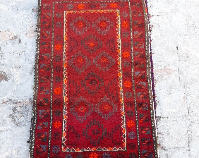 2'0 x 3'9 ft. Afghan Baluch Balisht Bag, Nomadic Wall Hanging, Tribal Style Tapestry