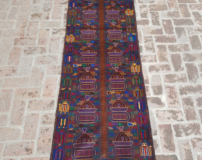 87x287 Afghan hand knotted war rug runner - decorative rug runner - wool rug runner - afghan baluch runner rug - free shipping