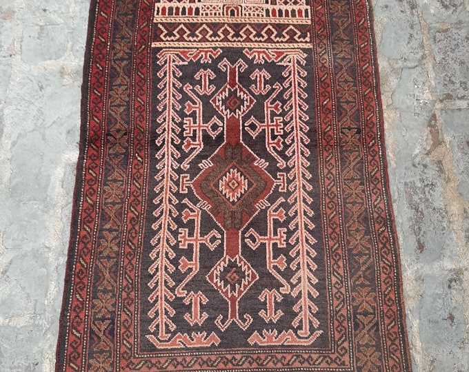 2'7 x 4'8 ft. Vintage Afghan tribal prayer rug