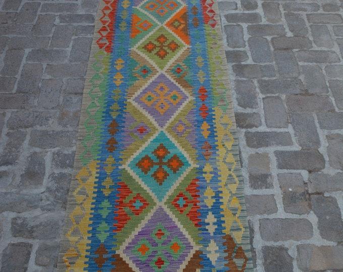 Colorful Handmade Afghan kilim Rug Runner/ Free Shipping - 80 x 395 cm
