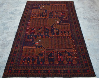 Afghan Pictorial Chinese Lion Hand knotted rug 100% wool / Decorative pictorial rug