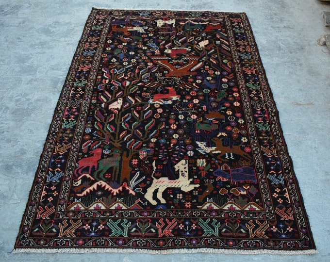 Nomad's Genuine Hand Knotted Afghan portrait Balouch Pictorial Wool Area Rug Wall hanging Wool rug baluch hand knotted wool pictorial Carpet