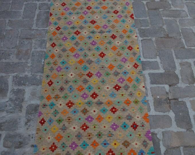 Colorful Handmade Afghan kilim Rug Runner/ Free Shipping - 80 x 296 cm