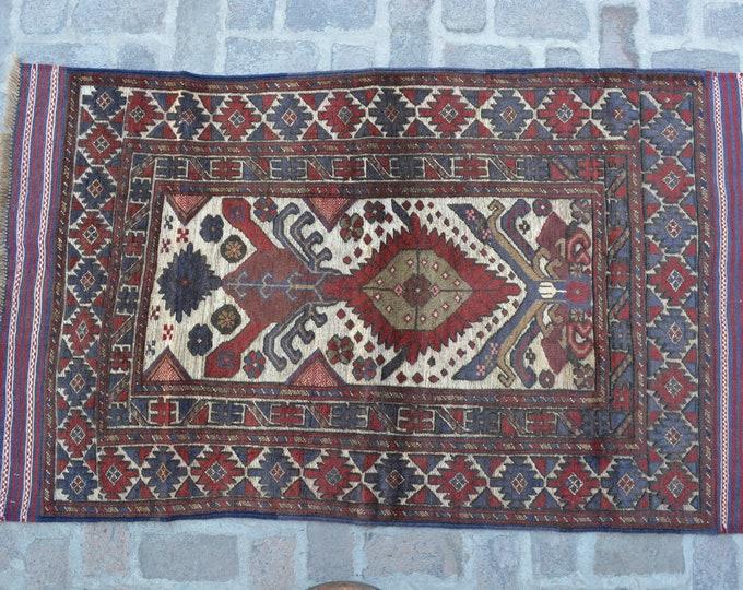 Vintage Afghan Tribal Berjesta Kilim Rug / Free Shipping/ 107 x 188 cm