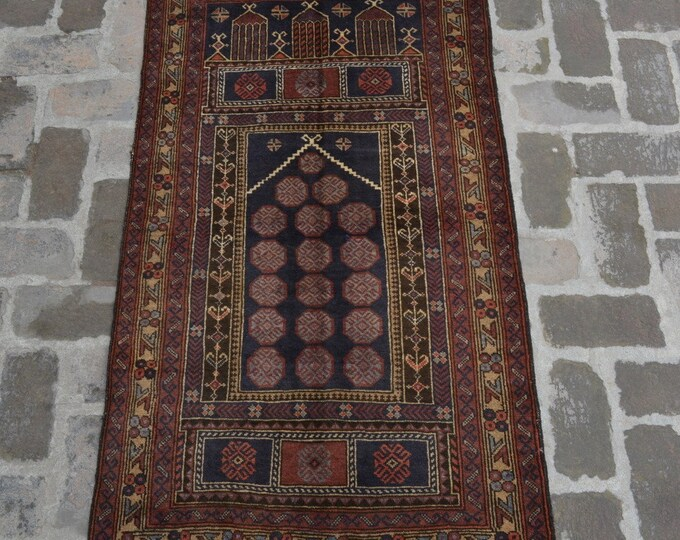Afghan handmade tribal prayer rug/ 84 x 148 cm