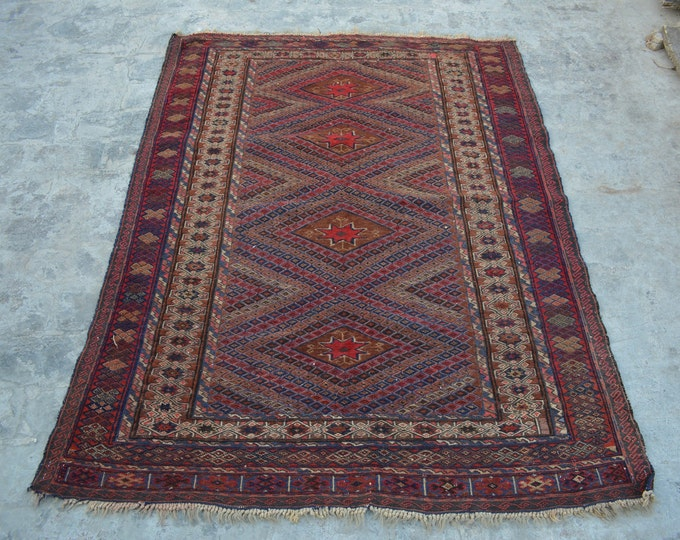 Vintage Elegant Afghan tribal mushwani kilim rug / mixture of kilim and rug Afghan nomadic kilim rug 100% wool