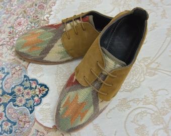 Handmade Kilim Loafers / bohemian shoes / kilim shoes