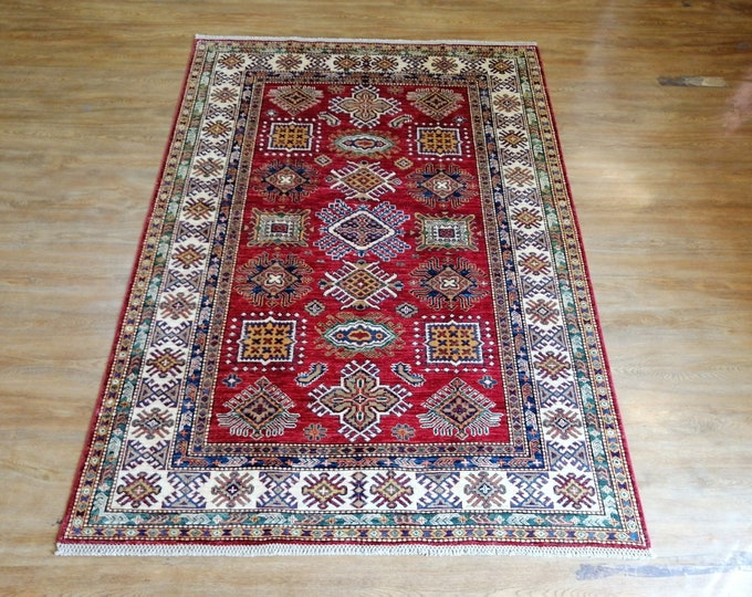 FREE SHIPPING 5'0 x 7'0 ft Stunning hand knotted Afghan Super kazak Rug ghazni wool this rug will make your room even more beautiful